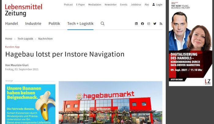 Lebensmittelzeitung Instore-Navigation